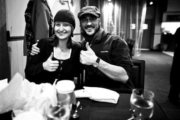 The last thing we did, literally an hour before hopping the Greyhound for Grande Prairie, is meet our friend Emily for lunch. As you can see from the thumb's up, she's doing really well.