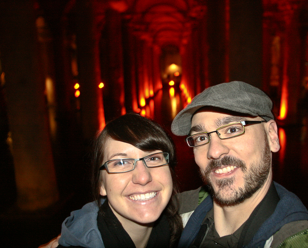 Laura and Chris trying out some self photography in the cistern.