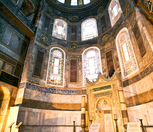 This fellow was also clearly impressed by the size of the place. The golden archway at the bottom-right is a mihrab, which serves to orient worshippers in the direction of Mecca.