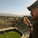 Chris at theatre of Afrodisias.