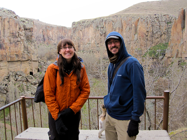 Laura and Chris at the same location and view point at the Ihlara Valley as Laura was 11-years ago.