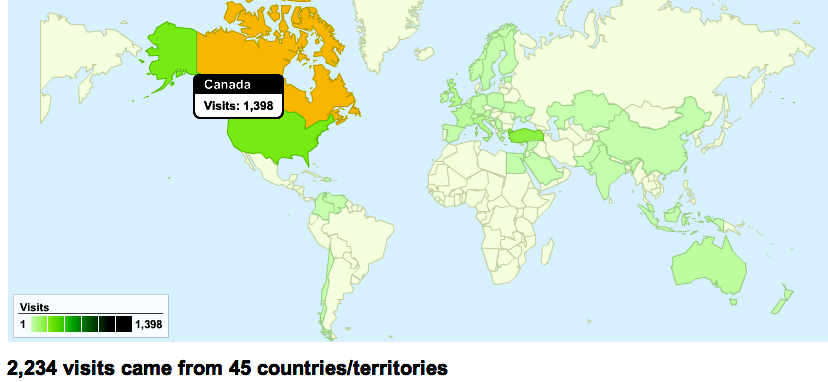 Worldwide Traffic Sources to www.OutThereSomewhere.ca since January 1, 2010