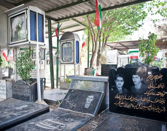 The Behesht-E Zahra cemetery, the main resting place for men who died during the Iran-Iraq War (1980−88).