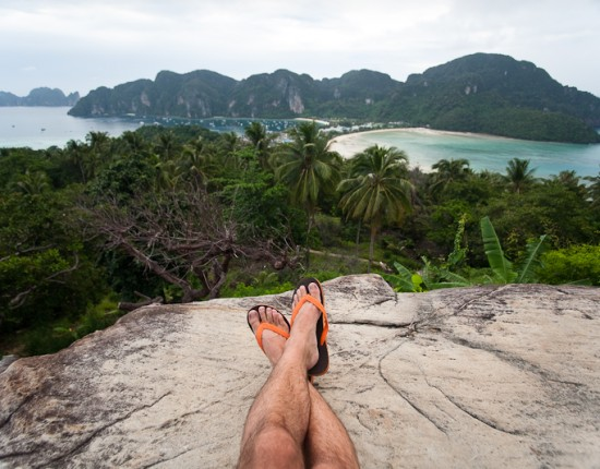 The view from here. Yesterday we climbed to the top of the viewpoint on Ko Phi Phi, the island we're on for the next few days. It was overcast yesterday, but the sun is shining today.