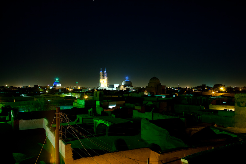 The nighttime view from the roof to the Jameh Mosque and other Yazdi landmarks.