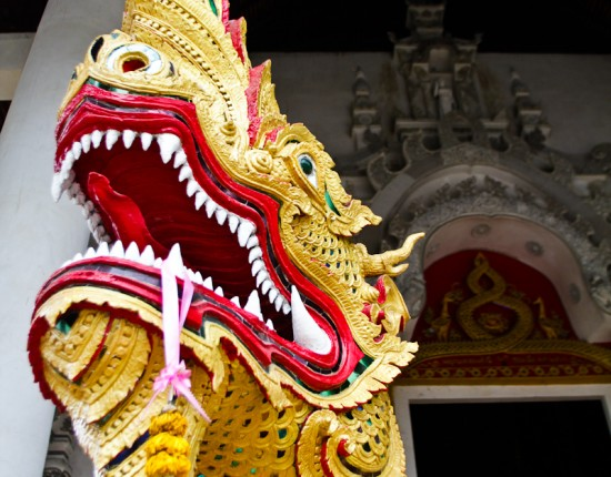 One of the dragons that guards the entrance of Wat Phra Singh in Chiang Mai, Thailand.