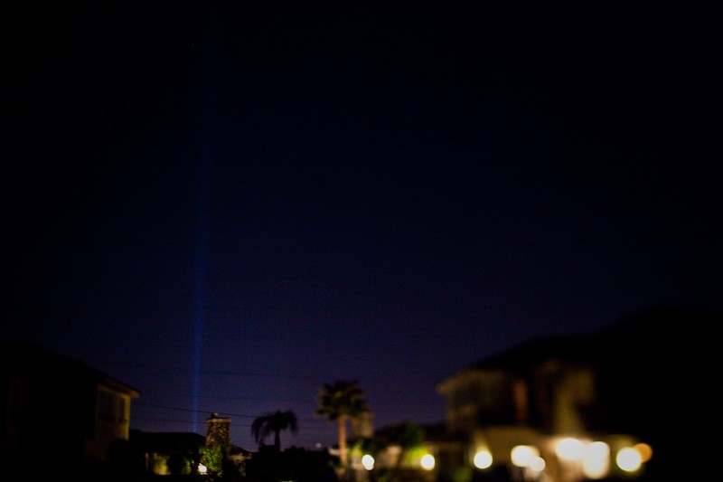 We could see the Luxor pyramid's light beam from our courtyard at the workshop mansions.