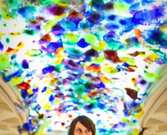 Laura, under the glass foyer of the Bellagio.