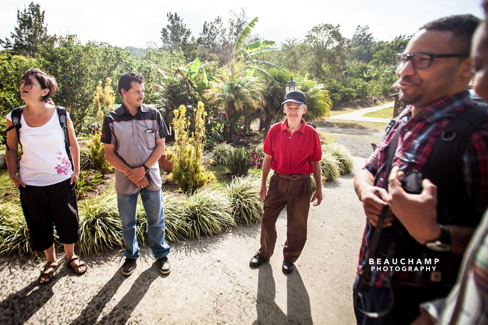 "The man in the red shirt is Don Juan, the 70-year old man who owns and runs the ""Don Juan Coffee Plantation""."