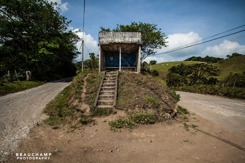 A bus stop in the middle of the road on the drive to Santa Elena.
