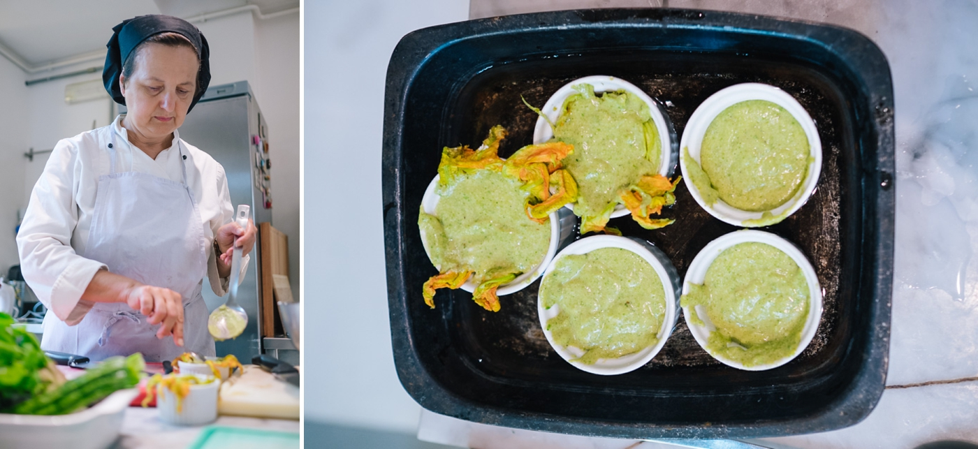 "Marcella prepares ""the green children"" (zucchini pastry) in a water bath before placing them in the oven for 30-minutes."