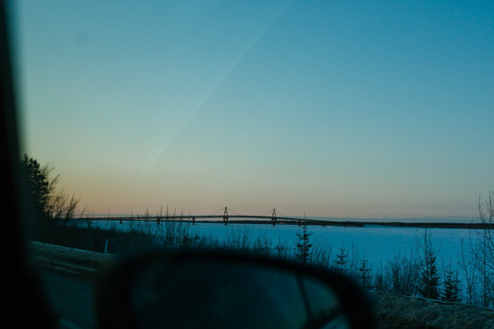The bridge to get you from Fort Providence to the other side of Great Slave Lake, only to drive another 3-hours to Yellowknife.