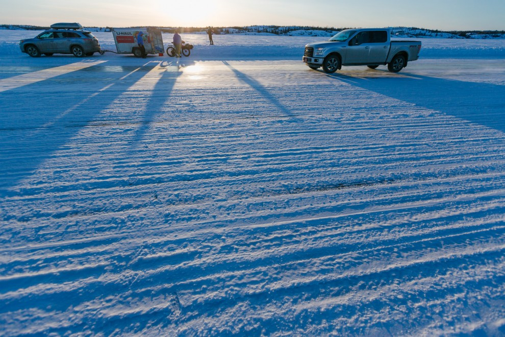 We drove out onto the ice road, literally a stretch of Great Slave Lake, that has been plowed, so vehicles can drive around.