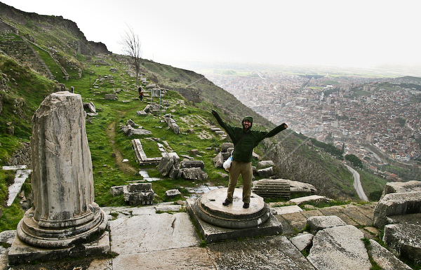 Chris, the want-a-be column, at Bergama.