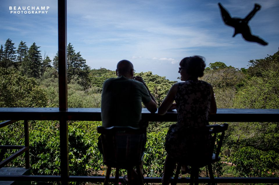 A friendly American Dad snapped this for me. We're enjoying our coffee tasting on the balcony of Don Juan's.