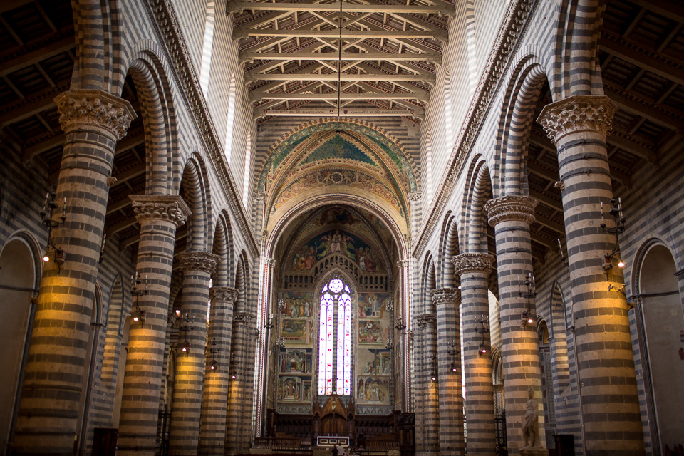 Orvieto cathedral. The facade was under construction, but the inside is a treasure trove of art. It was an interesting mix of cool marble and warm light from lamps and alabaster windows.